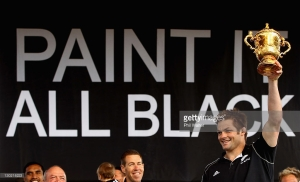 during the New Zealand All Blacks 2011 IRB Rugby World Cup celebration parade on October 25, 2011 in Christchurch, New Zealand. The All Blacks won the 2011 RWC Final on Sunday night by defeating France 8-7 at Eden Park.